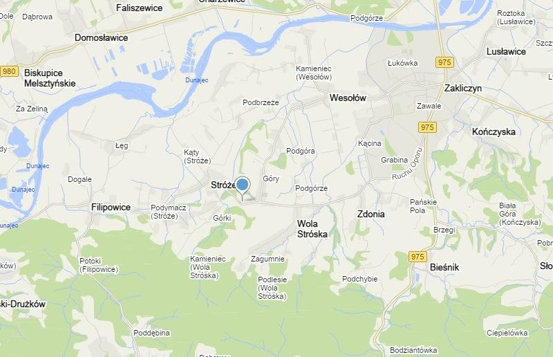 Mapa z zaznaczonym punktem, gdzie znajduje się Dom Pomocy Społecznej.